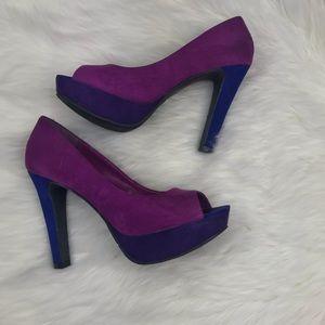 Candie's Shoes - Candie's Faux Suede Colorblock Heel Pump Open Toe